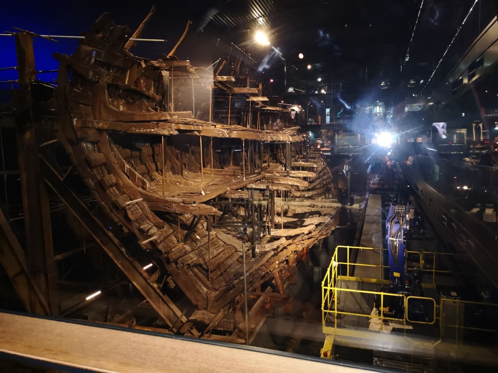 The Mary rose is dimly lit in the dark